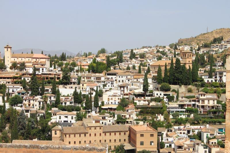 Panorama van Granada van Alhambra royalty-vrije stock foto's