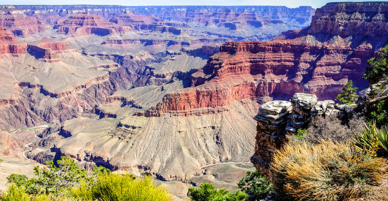 Panorama van Grand Canyon op Pima-Punt royalty-vrije stock fotografie