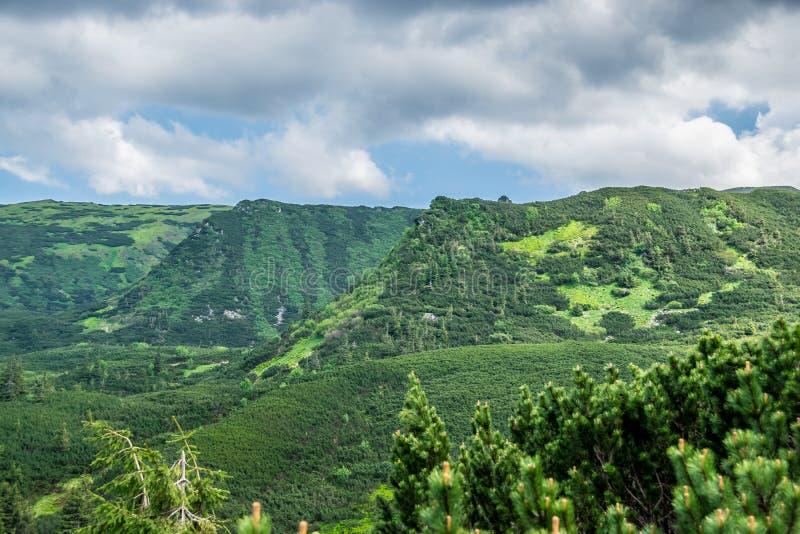 Panorama van groene bergketens royalty-vrije stock afbeelding