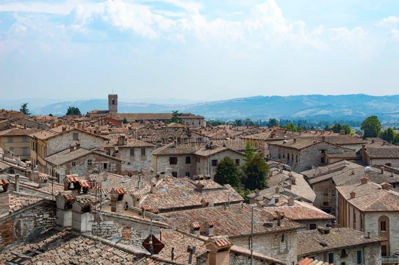 Panorama van Gubbio-stad in Umbria Italy royalty-vrije stock fotografie