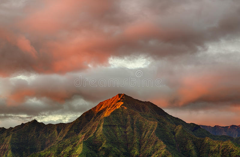 Panorama van Hanalei op Eiland Kauai stock afbeeldingen