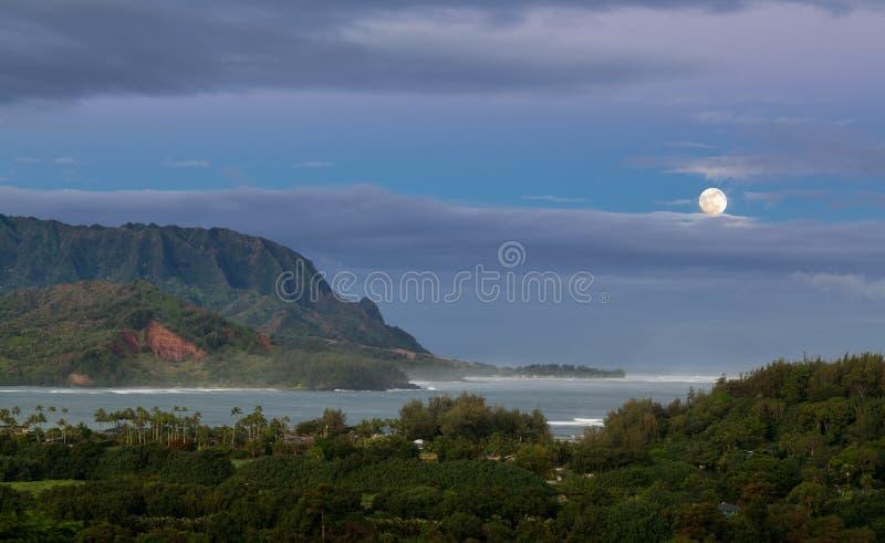 Panorama van Hanalei op Eiland Kauai royalty-vrije stock foto
