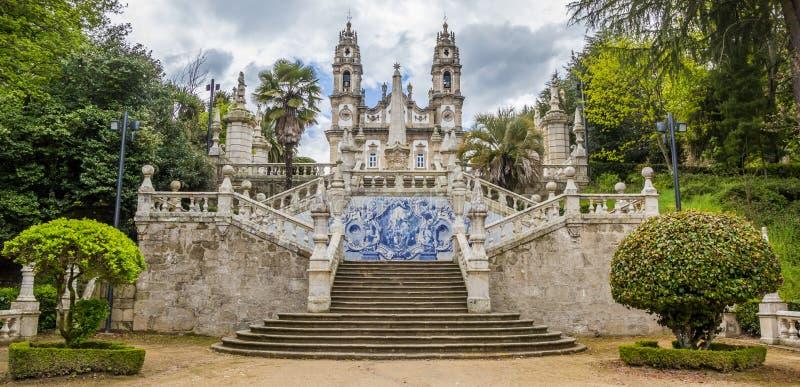 Panorama van Heiligdom van Onze Dame van Remedios in Lamego stock afbeeldingen