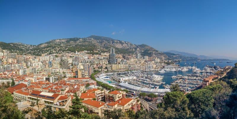 Panorama van Hercules-haven in Monaco stock foto