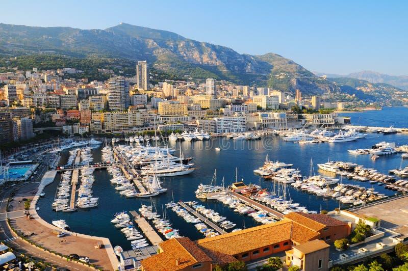Panorama van Hercules-haven in Monaco stock afbeelding