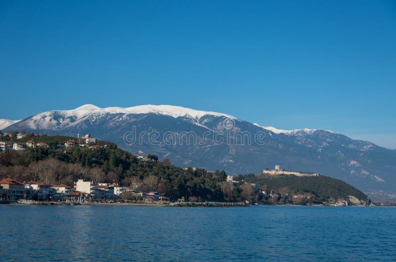 Panorama van het beroemde kasteel van Platamon, Platamonas vill royalty-vrije stock foto