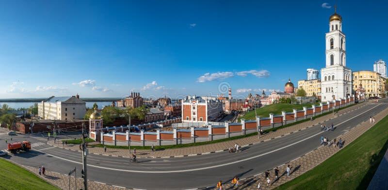 Panorama van het centrale historische deel van Samara-stad stock afbeelding