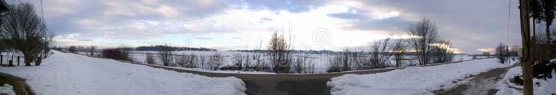 Panorama van het de winterlandschap stock foto
