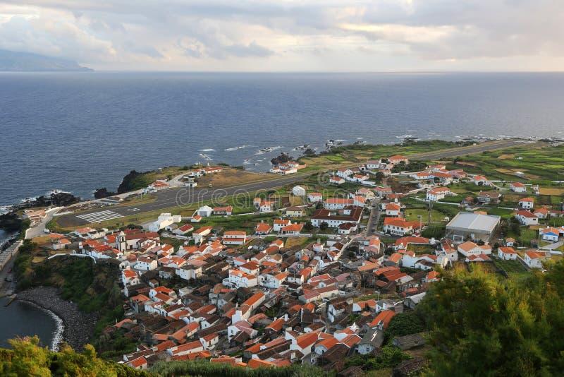 Panorama van het Eiland Corvo de Azoren stock fotografie