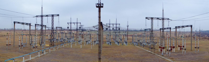 Panorama van het elektrohulpkantoor stock foto's