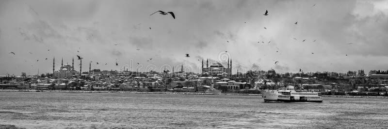 Panorama van het historische schiereiland in Istanboel Turkije stock fotografie