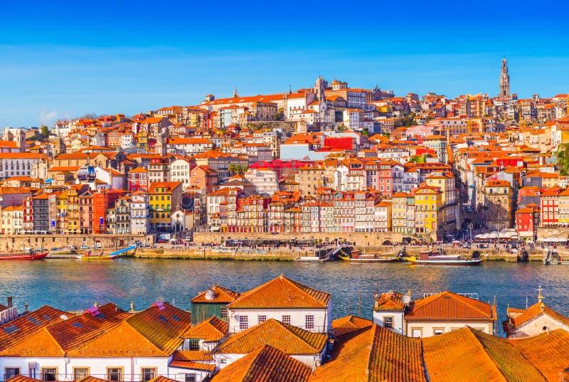 Panorama van het oude stadscentrum van Porto Porto, Portugal stock fotografie