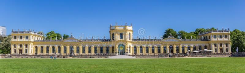 Panorama van het paleis in het Karlsaue-park van Kassel royalty-vrije stock foto's