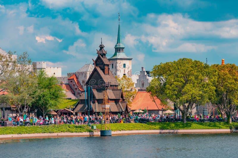 Panorama van het Paviljoen van Noorwegen in Epcot in Walt Disney World stock afbeeldingen