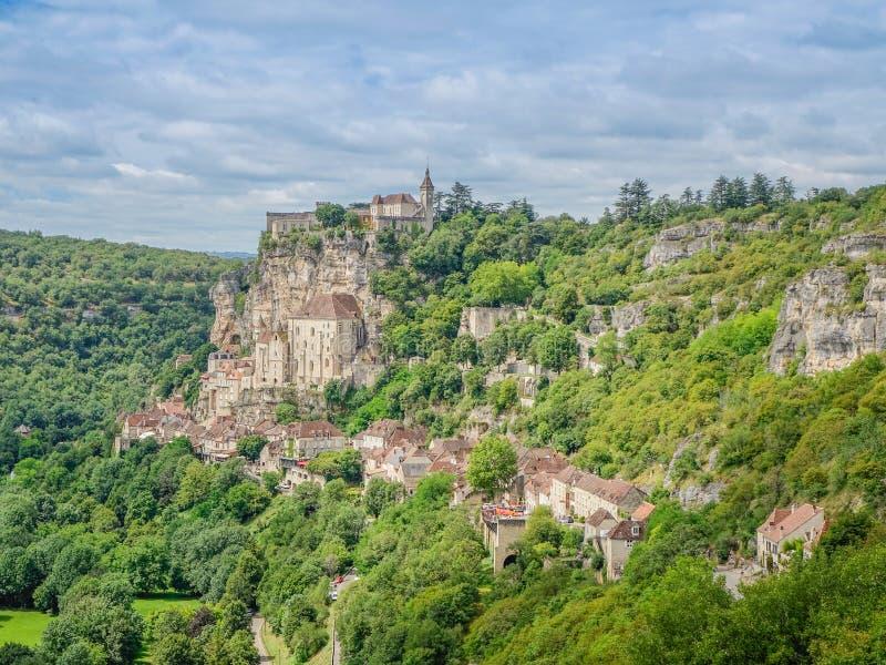 Panorama van het Rocamadour-dorp royalty-vrije stock fotografie
