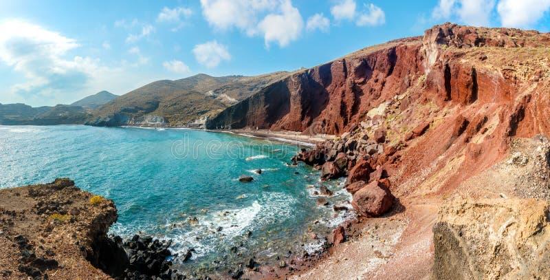 Panorama van het Rode Strand op Santorini royalty-vrije stock afbeelding