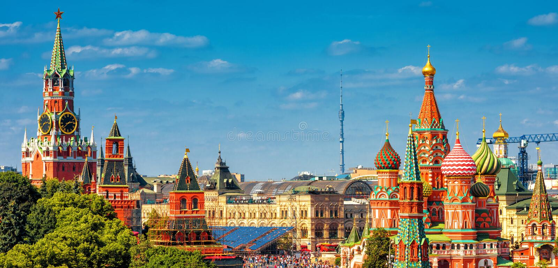 Panorama van het Rode Vierkant in Moskou, Rusland stock afbeelding