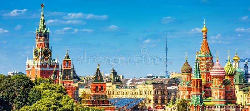 Panorama van het Rode Vierkant in Moskou, Rusland stock fotografie