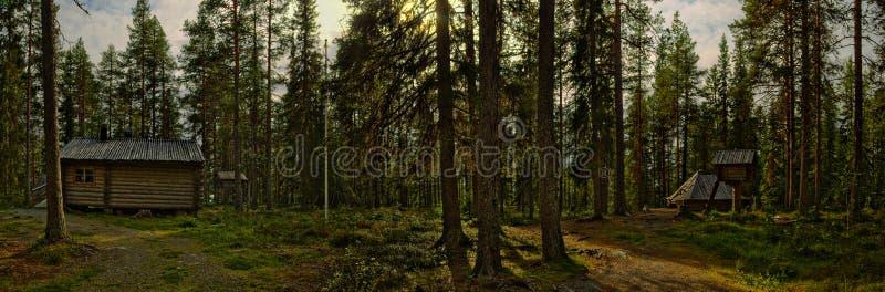 Panorama van het Sami-kamp in Vilhelmina, Zweden stock afbeeldingen