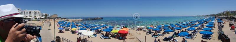 Panorama van het strand in Cyprus royalty-vrije stock foto's