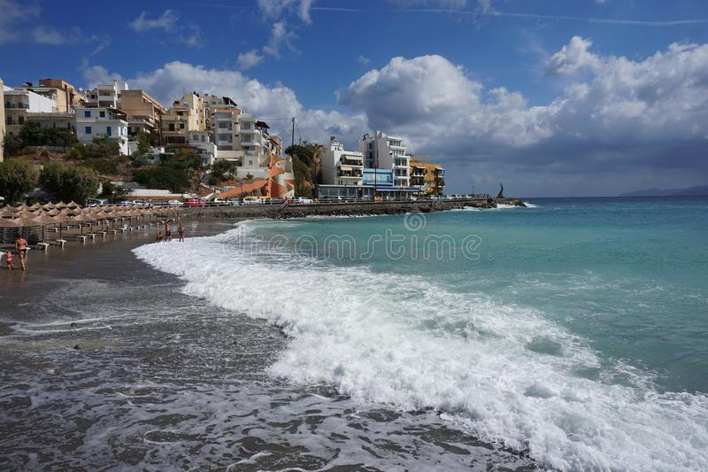Panorama van het strand in de haven stock foto