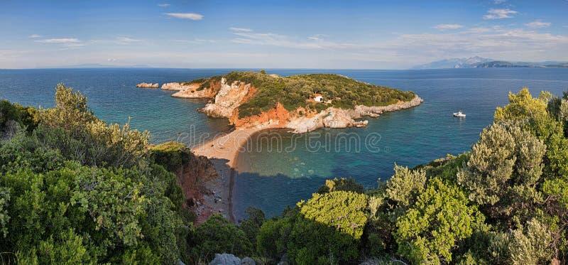 Panorama van het strand in Griekenland royalty-vrije stock foto's