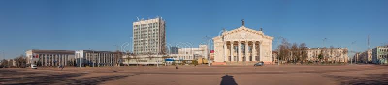 Panorama van het Vierkant van Lenin Gomel, Wit-Rusland royalty-vrije stock foto