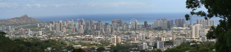 Panorama van Honolulu/Waikiki royalty-vrije stock fotografie