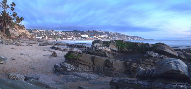 Panorama van Hoofdstrand in Laguna Beach royalty-vrije stock afbeeldingen