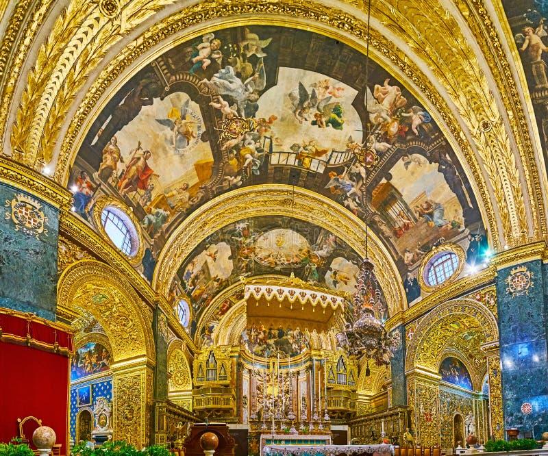 Panorama van Hoog Altaar van St John Co-Kathedraal, Valletta, Malta royalty-vrije stock fotografie