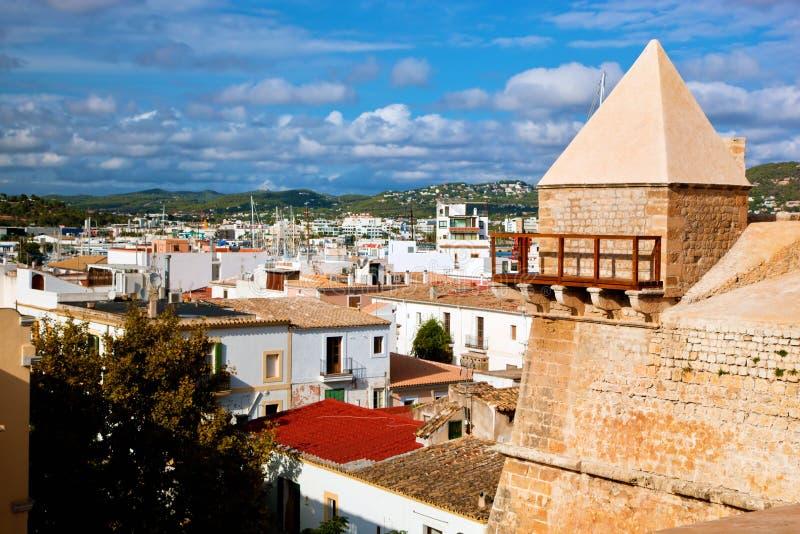 Panorama van Ibiza, Spanje royalty-vrije stock afbeeldingen