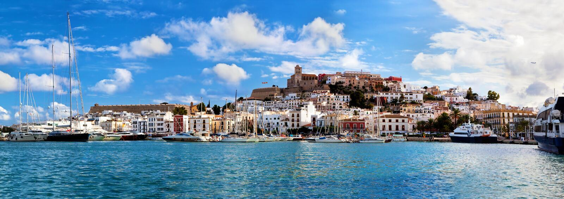 Panorama van Ibiza, Spanje royalty-vrije stock foto