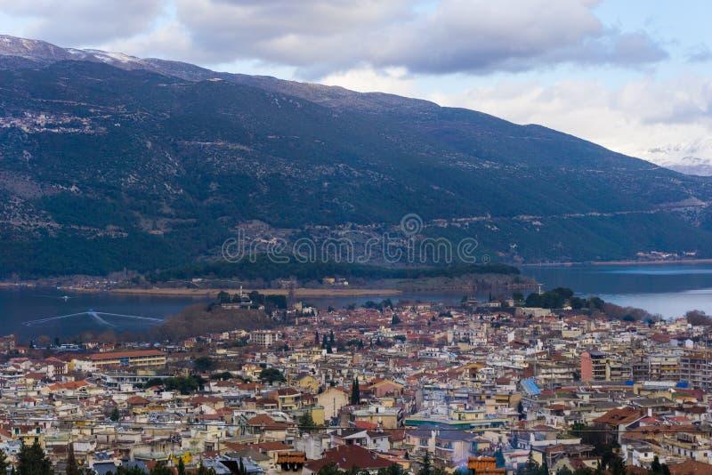 Panorama van Ioannina in Griekenland royalty-vrije stock foto's