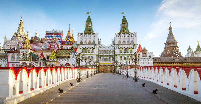 Panorama van Izmailovsky het Kremlin in Moskou, Rusland royalty-vrije stock foto