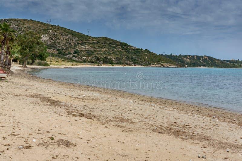 Panorama van Katelios-strand in Kefalonia, Griekenland royalty-vrije stock afbeeldingen
