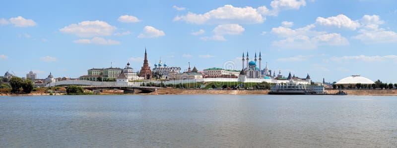 Panorama van Kazan het Kremlin, Rusland stock foto's