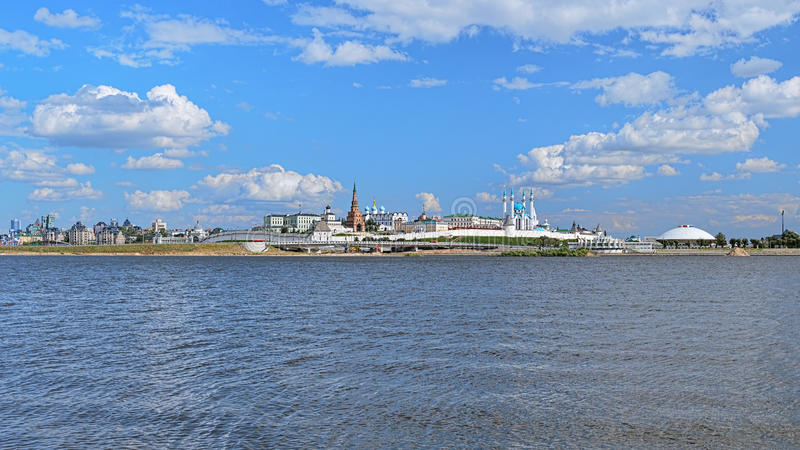 Panorama van Kazan het Kremlin, Rusland royalty-vrije stock afbeelding