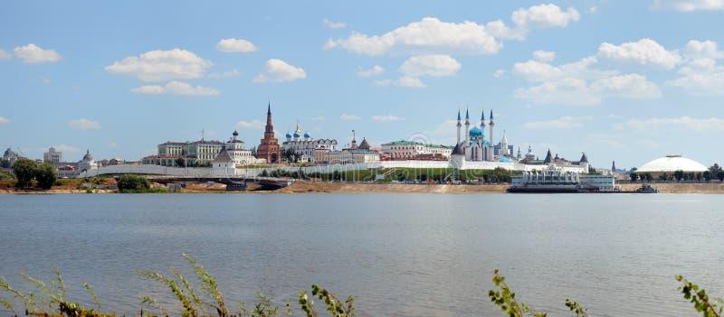 Panorama van Kazan het Kremlin, Tatarstan stock foto's