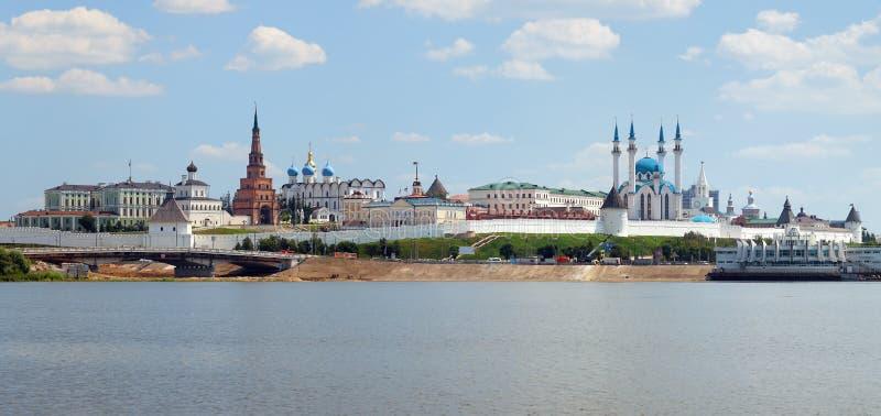 Panorama van Kazan het Kremlin, Tatarstan royalty-vrije stock fotografie