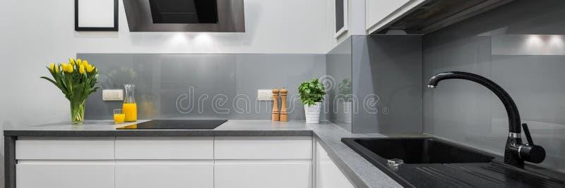 Panorama van keukencountertops stock fotografie