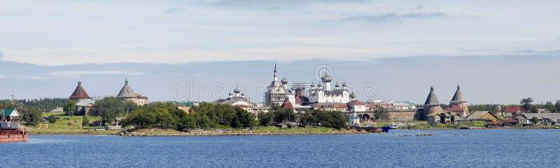 Panorama van klooster Solovki stock afbeeldingen