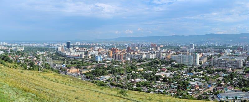 Panorama van Krasnoyarsk, Rusland stock foto