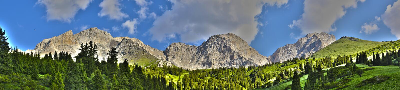 Panorama van kyrgyz bergen royalty-vrije stock foto