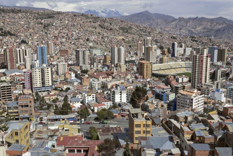 Panorama van La Paz stock fotografie