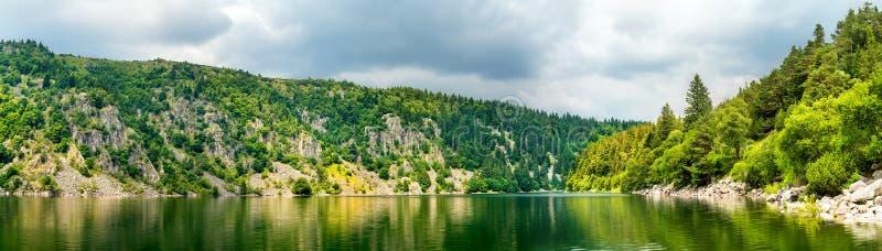 Panorama van Lakspatie, een meer in de de Vogezen-Bergen royalty-vrije stock afbeelding