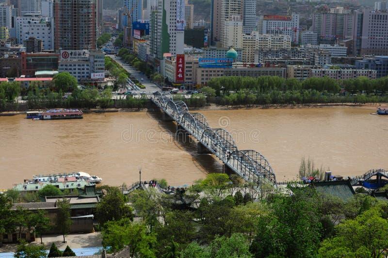 Panorama van Lanzhou, China royalty-vrije stock foto's