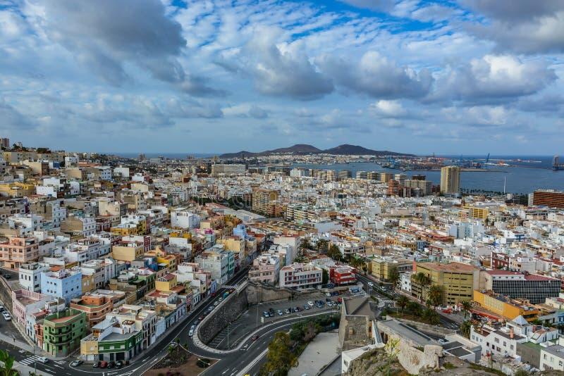 Panorama van Las Palmas de Gran Canaria op een bewolkte dag stock foto