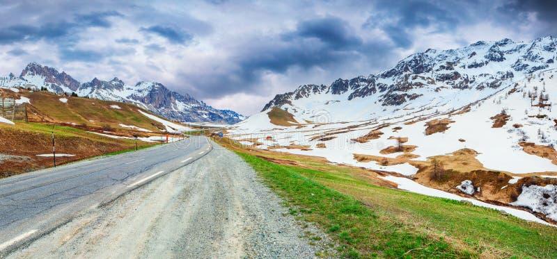 Panorama van Le Lautaret Pass, Ecrins, Frankrijk stock foto