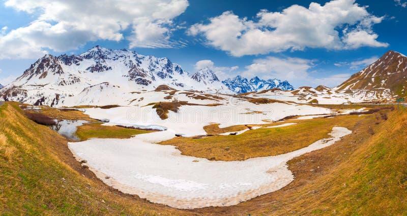 Panorama van Le Lautaret Pass, Ecrins, Frankrijk stock foto's