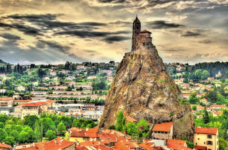 Panorama van Le Puy-en-Velay - Frankrijk stock afbeelding